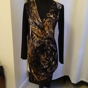Long sleeve patterned wrap cocktail dress